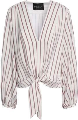 Nicholas Tie-front Striped Satin-crepe Blouse