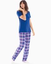 Soma Intimates Short Sleeve Pajama Set Peace And Joy Plaid Blue