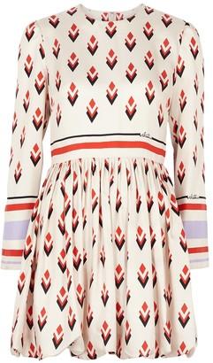 Valentino Printed silk-twill mini dress