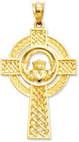 Macy's 14k Gold Charm, Celtic Claddagh Cross Charm