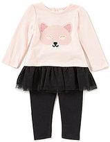 Starting Out Baby Girls 12-24 Months Cat Ruffle-Hem Top & Leggings Set