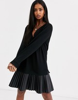 Asos Design DESIGN sweat dress with leather look pleated hem