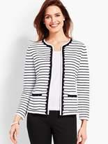 Talbots Scalloped-Edge Stripe Sweater Jacket