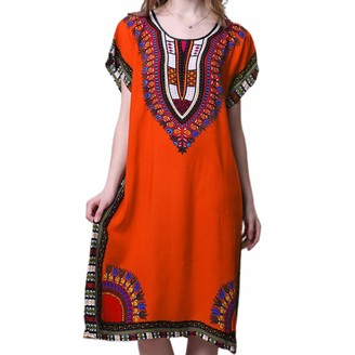 yanni Womens Flare Short Sleeves Nightdress Ethnic Bright Colored Geometric Graphic Print Long Beach Dress Crew Neck Casual Sleepwear Orange