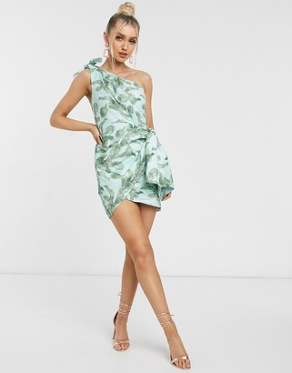 Significant Other coraline tropical leaf one shoulder mini dress in mint tropical