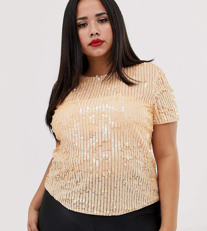 becf2f3a026f Plus Sized Sequined Tee - ShopStyle