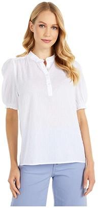 Lucky Brand Feminine Popover Top (Bright White) Women's Clothing
