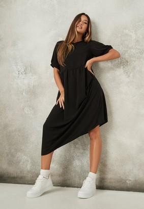 Missguided Black Puff Sleeve Midi Smock Dress