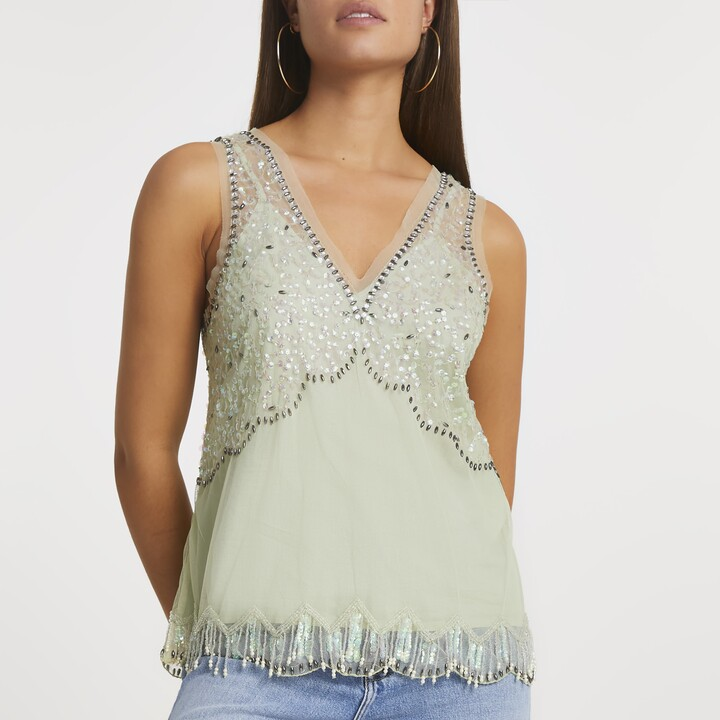 Thumbnail for your product : River Island Womens Green embellished vest