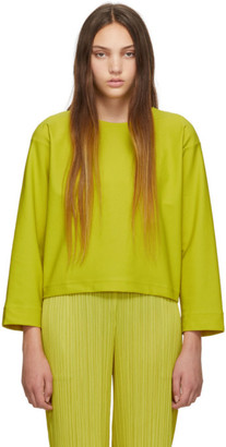 Pleats Please Issey Miyake Online Exclusive Yellow Jersey Long Sleeve T-Shirt