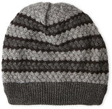 turtle fur Graphite Fleece-Lined Striped Beanie