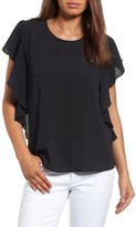 Bobeau Women's Flutter Sleeve Top