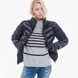 Le Temps Des Cerises Short Shiny Effect Puffer Jacket with High Collar