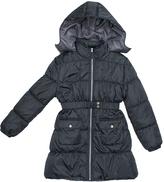 Pink Platinum Charcoal Belted Long Puffer Jacket - Toddler & Girls