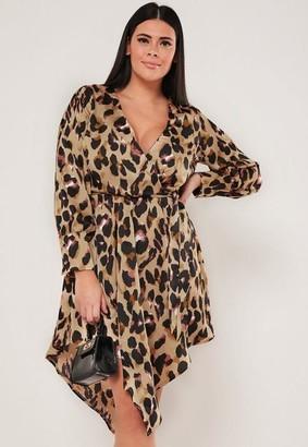 Missguided Plus Size Brown Leopard Print Tie Waist Satin Plunge Dress