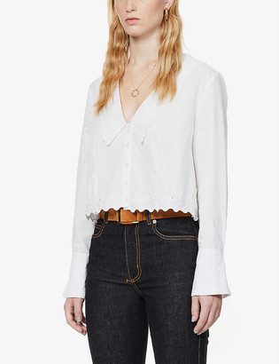 Free People Janie sailor-collar cotton-poplin shirt