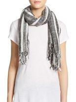 Saks Fifth Avenue BLACK Textured Stripe Scarf