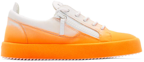 Giuseppe Zanotti White and Orange Flashy May London Sneakers
