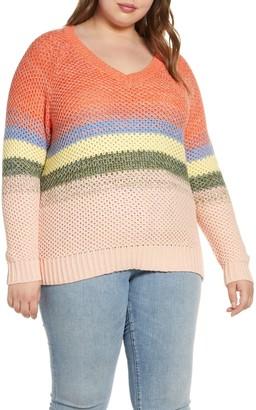 Caslon Ombre Stripe V-Neck Sweater