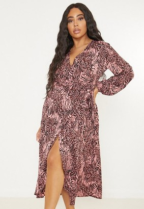 Missguided Size Pink Leopard Print Wrap Maxi Dress