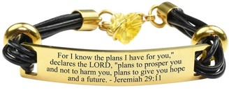 Pink Box Genuine Leather Scripture Bracelet with Crystals from Swarovski Jeremiah 29:11 Gold