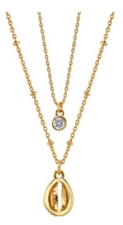 Unwritten Gold Flash Plated Shell Layered Pendant Necklace with Mini Cubic Zirconia Pendant