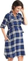 Maternity plaid tie-belt shirtdress