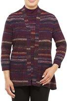 Allison Daley Petites 3/4 Sleeve Stripe Open Front Cardigan