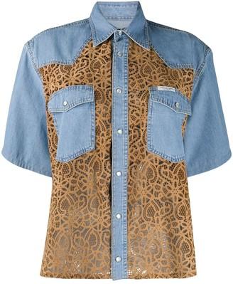 Forte Dei Marmi Couture Lace Panelled Denim Shirt