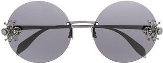 Alexander Mcqueen Eyewear Spider Applique Round-Frame Sunglasses