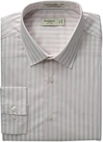 Haggar Men's Fitted Mechanical Stretch Long Sleeve Pattern Dress Shirt