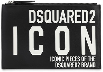 DSQUARED2 Icon Printed Leather Pouch