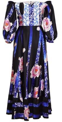 Jiri Kalfar Shoulder Less Peony Flower Dress