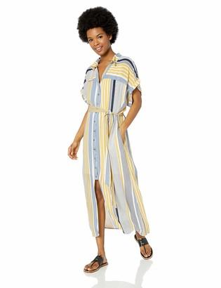 Miss Me Women's Striped Midi Shirt Dress