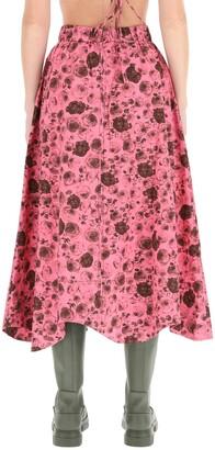 Ganni Floral Poplin Midi Skirt