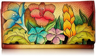 Anuschka Women's Handpainted Leather Multi Pocket Wallet