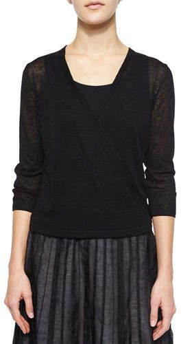 Nic+Zoe Petite 4-Way Linen-Blend Knit Cardigan