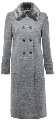 Dorothy Perkins Womens Grey Faux Fur Collar 'Dolly' Coat, Grey
