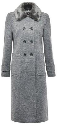 Dorothy Perkins Womens Grey Faux Fur Collar 'Dolly' Coat, Grey