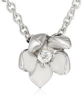 Shaun Leane Women's Small Single Diamond and Ivory Enamel 925 Sterling Silver Cherry Blossom Pendant and Chain of 40 cm