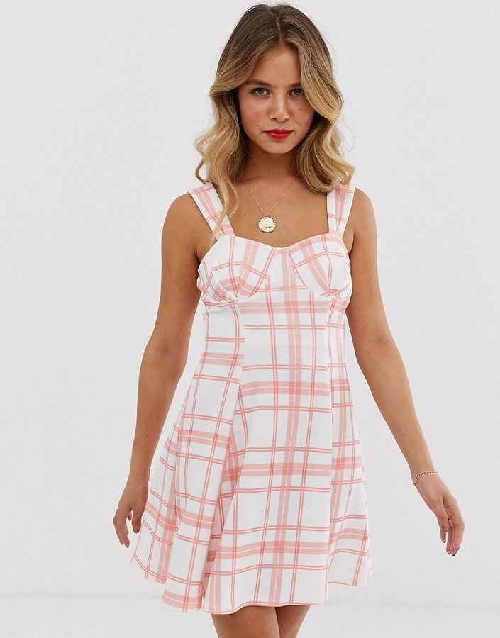 Asos DESIGN check cupped seamed flare mini dress