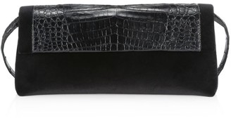 Nancy Gonzalez Gotham Crocodile-Trimmed Velvet Clutch