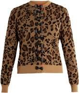 Muveil Bow-embellished leopard fil coupé cardigan