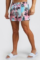boohoo Mens Pink Mid Length Swim Short In Palm Retro Print, Pink