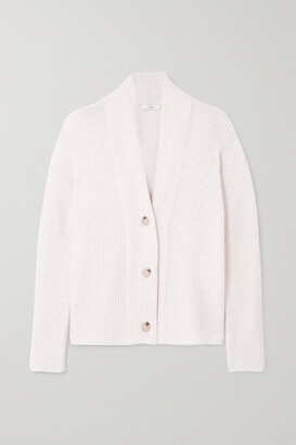 Vince Ribbed Wool And Cashmere-blend Cardigan - White