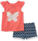 Kids Headquarters Coral Butterfly Top & Navy Shorts - Infant Toddler & Girls