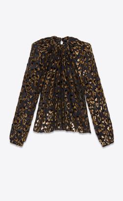 Saint Laurent Loose Ruched Blouse In Silk And Leopard Lame Velvet Golden Black 10