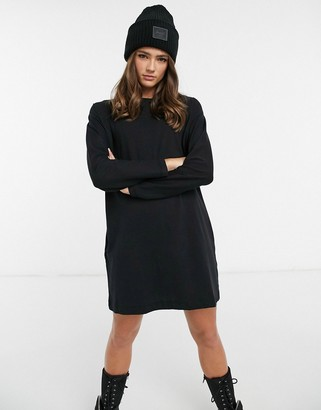 Miss Selfridge long sleeve t-shirt dress in black