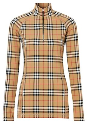 Burberry Vilan Check Print Long Sleeve Jersey Top