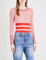 Sandro Stripe-pattern ribbed knitted top